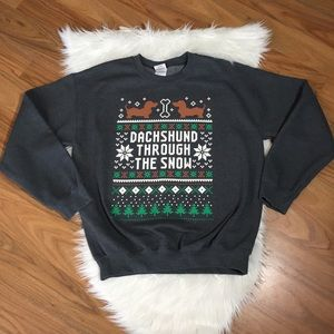 Ugly Christmas Sweater Dachshund Thru the Snow, M